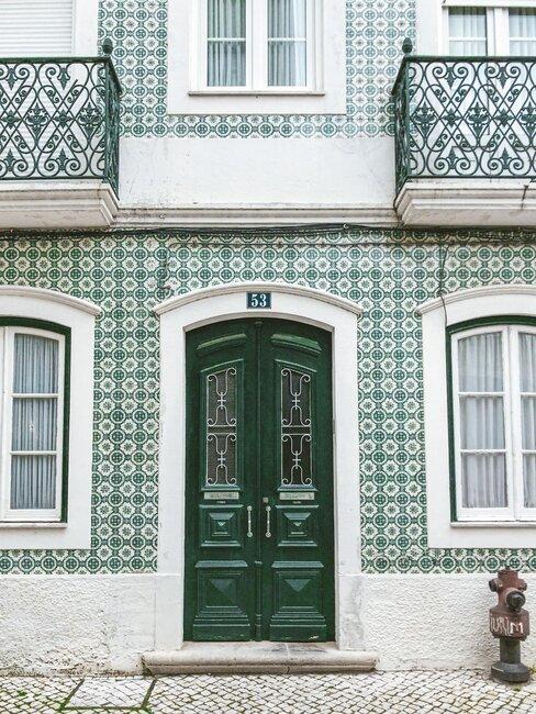 puerta de hierro y madera verde