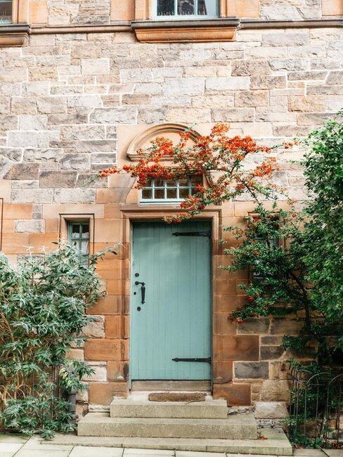 puerta rústica azul
