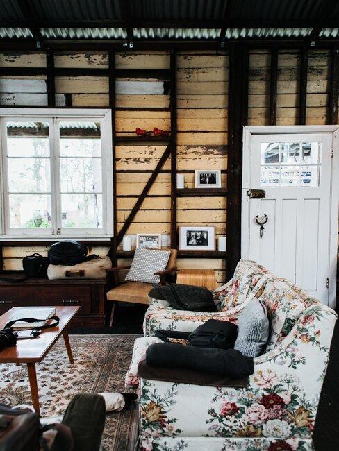 salón rústico vintage