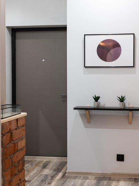 puerta pvc gris balda y cuadro