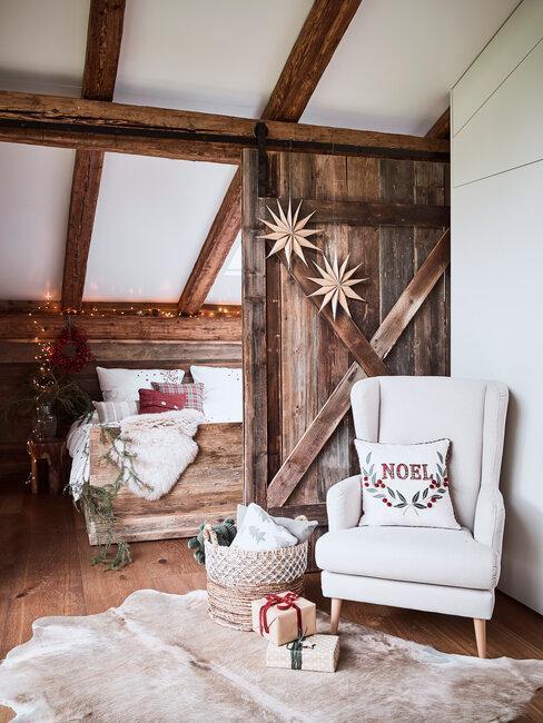 dormitorio rústico navideño