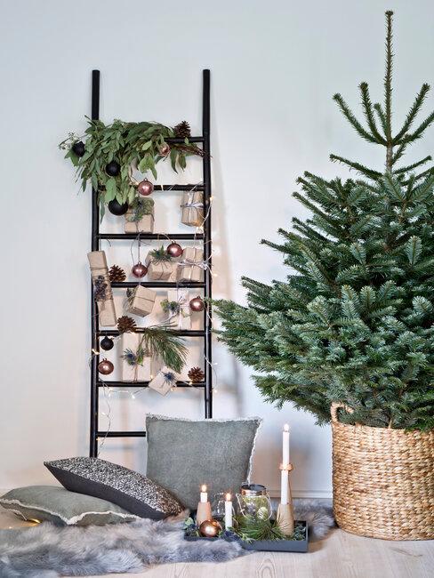 árbol de navidad y adornos estilo nórdico