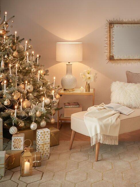 árbol de navidad blanco y dorado estilo glam