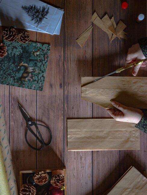 cortar bolsa de papel para decoracion