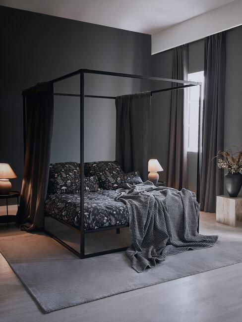 dormitorio en negro y gris