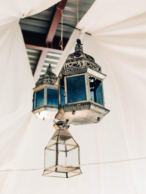 suspensions lanternes bleues orientales