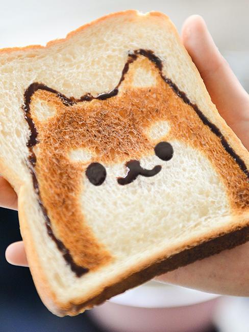 tranche de pain avec un animal dessiné dessus