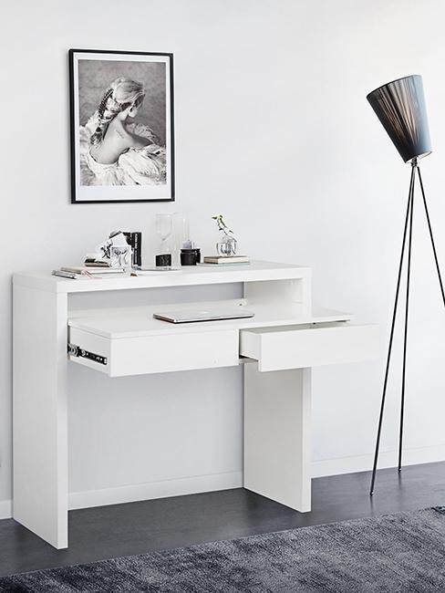 bureau blanc extensible avec tiroir