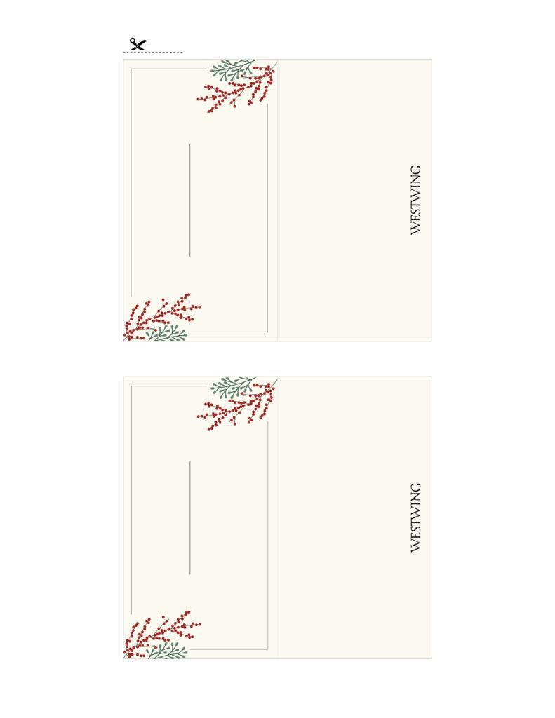marque places à imprimer pour Noël