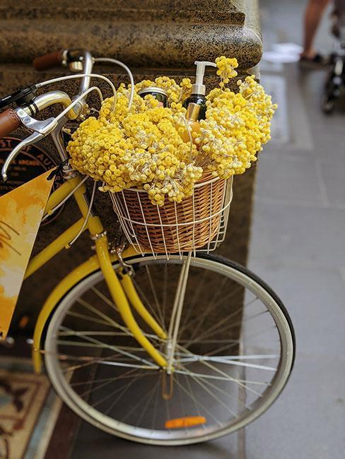 fleurs jaunes dans un panier de velo