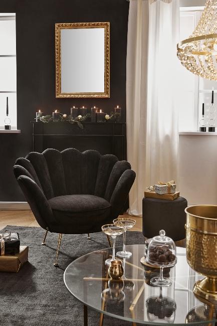 Miroir baroque doré dans salon inspiration gatsby