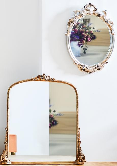 un miroir doré et un miroir argenté style baroque