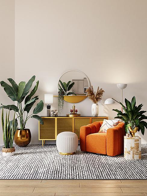 salon moderne avec fauteuil orange