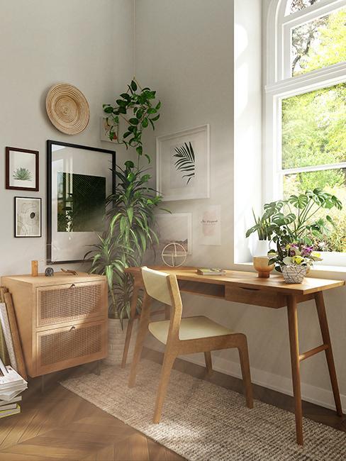 coin bureau avec meubles en bois