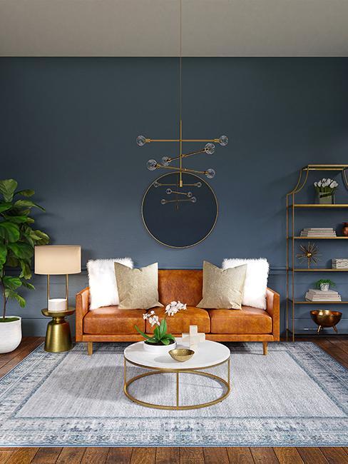 salon avec mur bleu