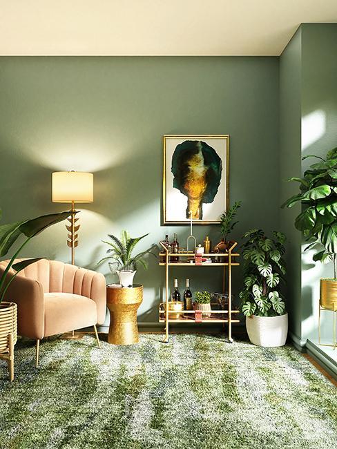 salon tropical avec mur vert