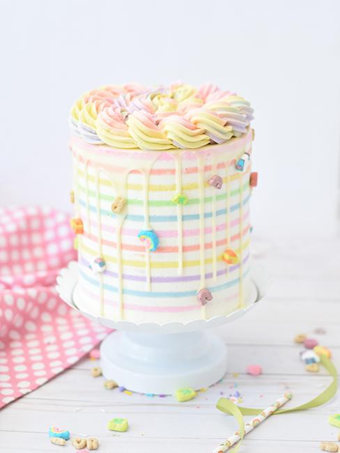 layer cake avec enrobage multicolore