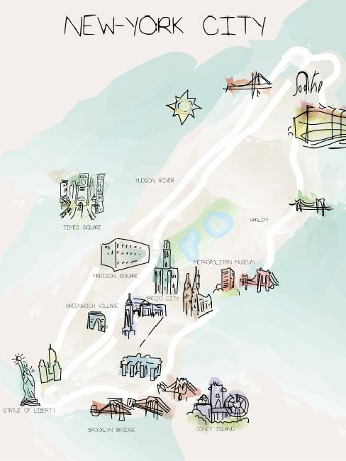 plan en dessin de la ville de NYC