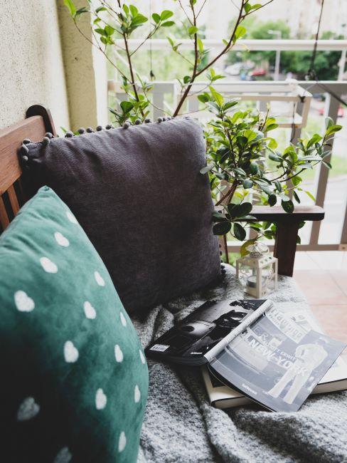 Gros plan des coussins et d'un plaid doux posés sur un canapé, derrière on voir les plantes vertes