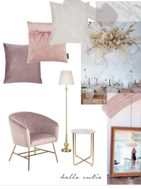 Collage meubles et déco rroses et blancs