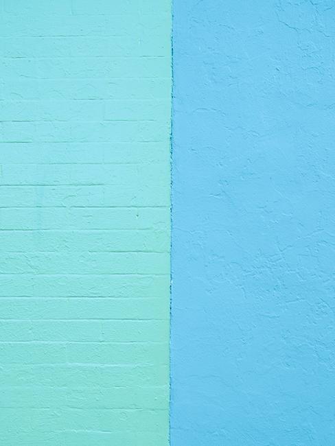 mur en brique coloré bleu et vert