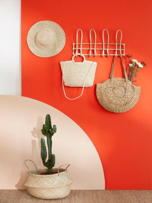 portemanteau mural filaire dans entrée orange