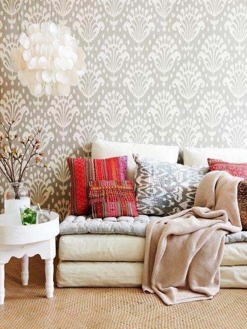 futon, canapé convertible, papier peint, style rustique, maison de campagne