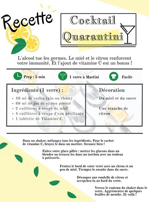 Recette cocktail Quarantini