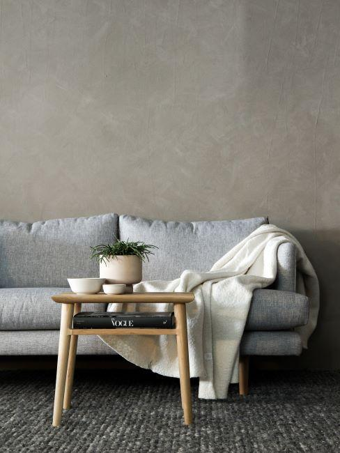 canapé gris, style minimaliste, plaid blanc