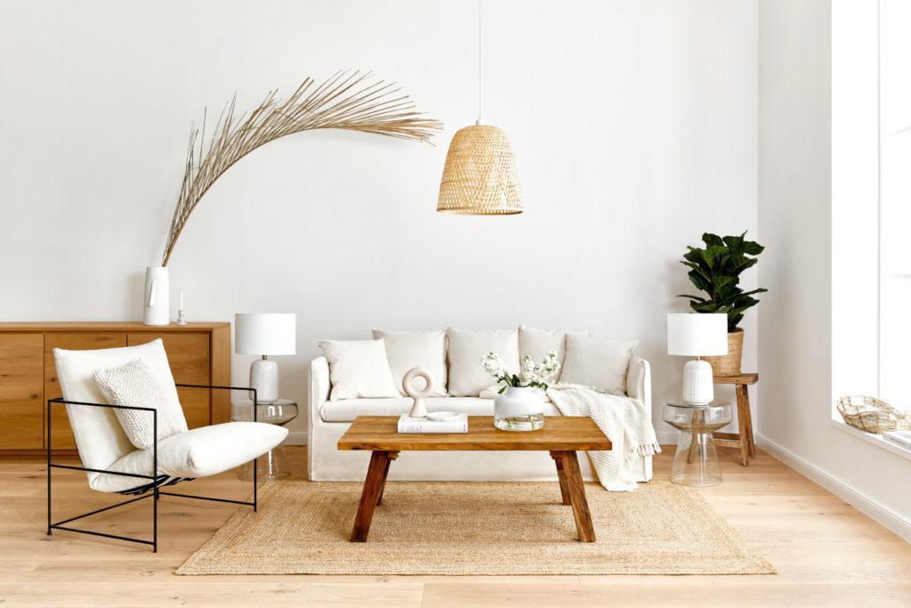 arrière plan zoom avec salon scandinave canapé blanc crème avec table en bois