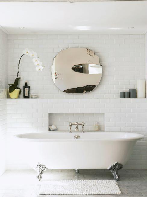 carreaux de salle de bains blanc, plante zen, miroir rond et baignoire