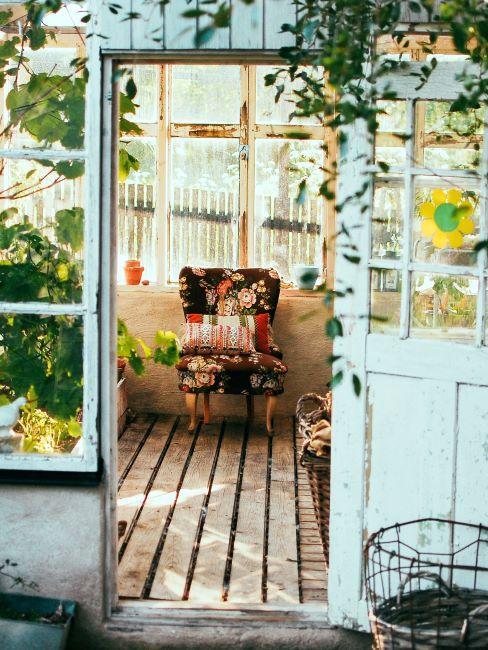 Abri de jardin vintage avec plantes à l'intérieur