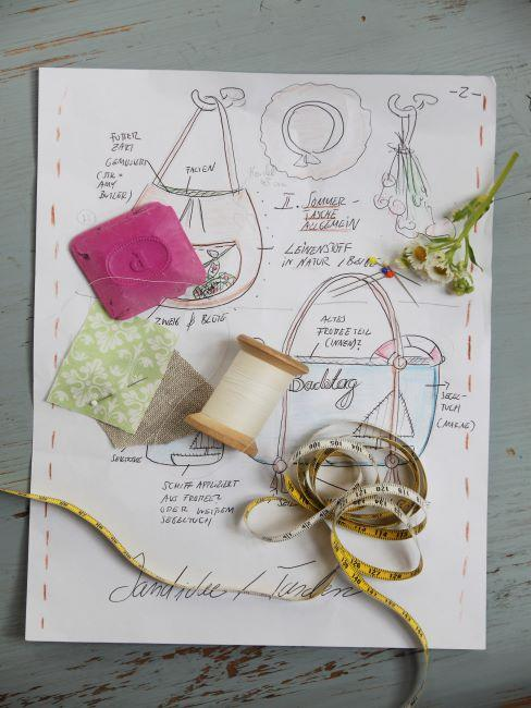 couture maison, feuille de papier avec esquisse de couture