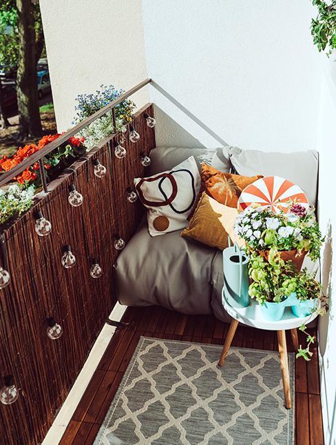 balcon avec canisse et guirlande lumineuse