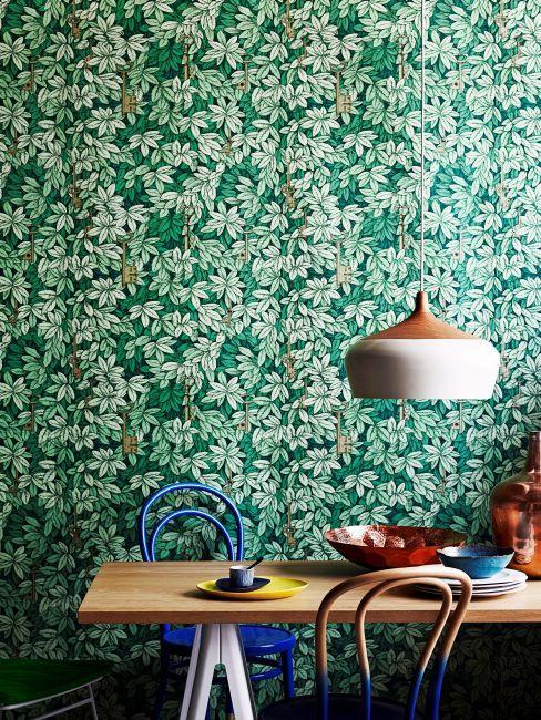 cuisine avec papier peint végétal
