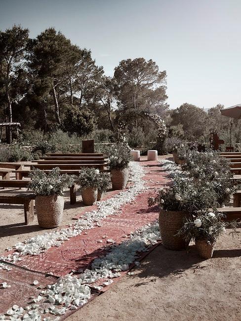 allé dans un jardin avec banc pour mariage bohème