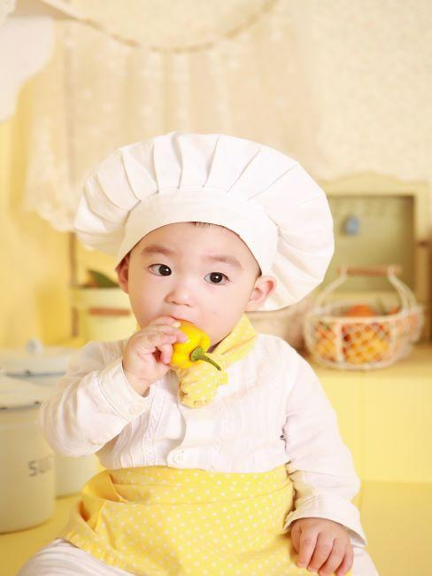 petit garcon habille en chapeau blanc de chef en tablier jaune train de manger du poivron jaune
