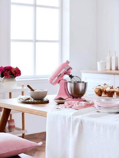 cuisine avec appareil kitchenaid rose