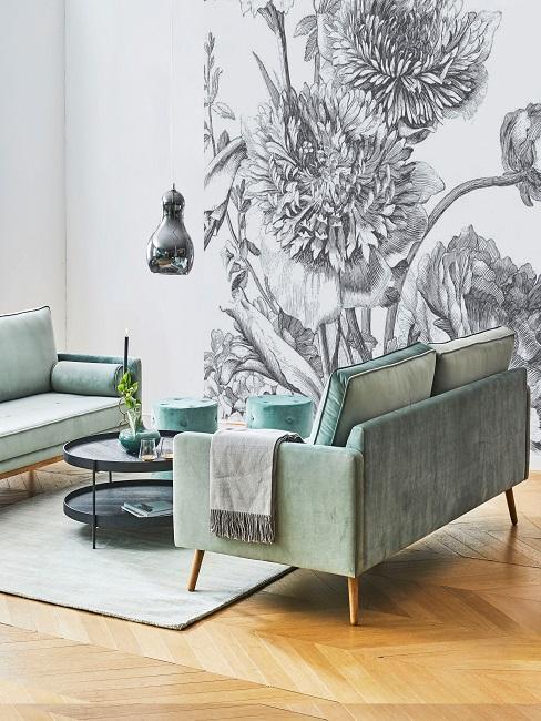 papier-peint-fleuri, decoration vert pastel