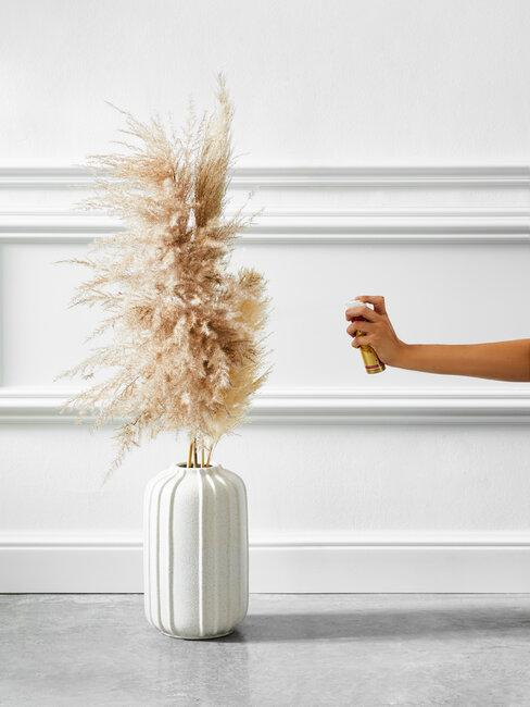 herbe de la pampa dans un vase blanc