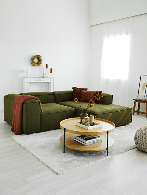salon moderne avec canapé kaki