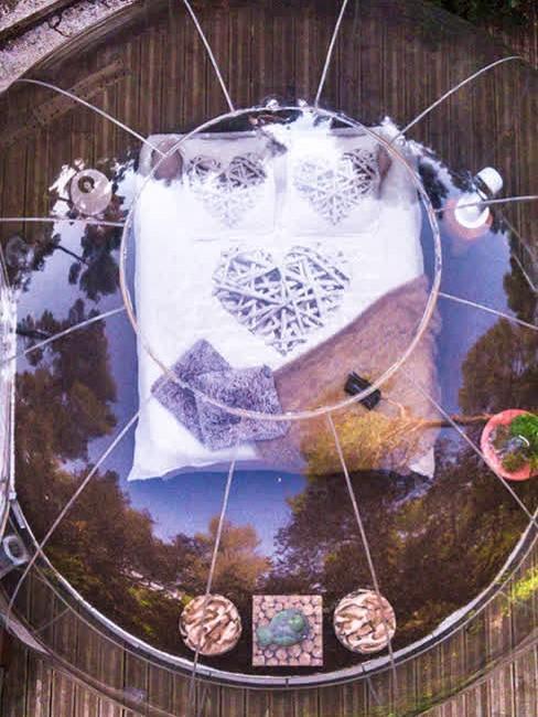 lit dans la bulle transparente