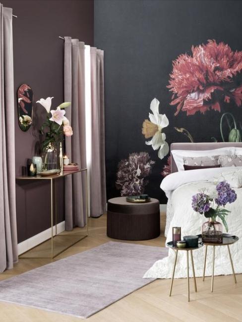 Chambre avec tapis couleur lilas