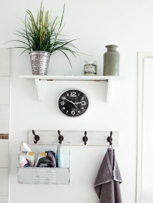 horloge, plante verte, rangement salle de bains