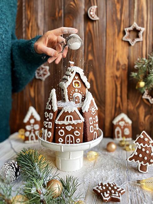 décoration de Noël avec des maisons de pain d'épices
