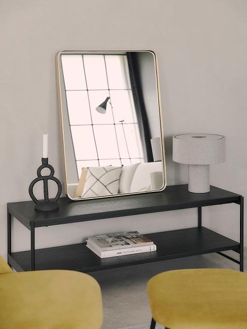meuble tv avec miroir, changement et lampe