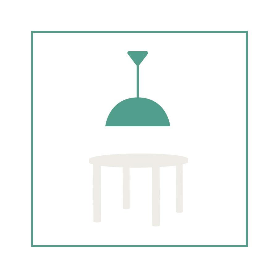 schéma lampe suspendue avec table