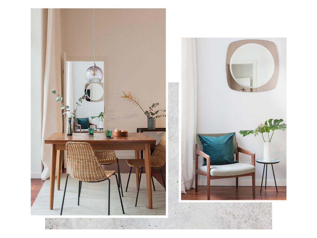 Grand miroir dans salle à manger avec table carrée en bois et chaises en rotin et miroir rond dans une entrée avec un fauteuil