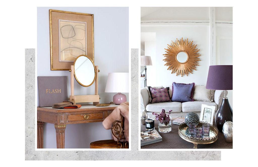 miroir en bois sur une bureau en bois, et miroir soleil dans salon avec canapé beige