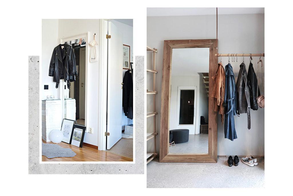 Miroir accroché au mur dans une entrée etgrand miroir en bois posé dans un dressing